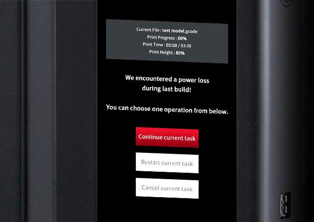 Raise3D Pro2 Plus Wiederherstellung bei Stromausfall