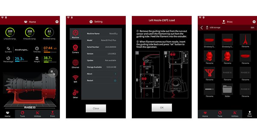 Raise3D Pro2 Plus Intuitive Benutzerführung